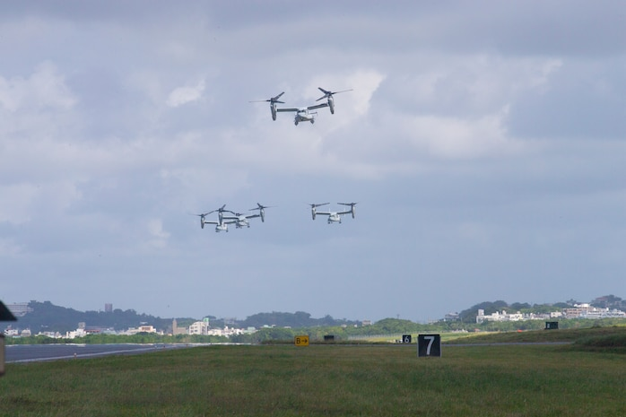 Four MV-22 Osprey's from Marine Medium Tiltrotor Squadron 262 depart from MCAS Futenma. Marine Aircraft Group 36 conduct a rapid deployment exercise on Oct. 23, 2019 in Okinawa, Japan and the Indo-Pacific region. This type of realistic training is used to highlight an active posture of a ready force and is essential to maintaining the readiness needed to uphold our commitments to our allies and surrounding nations. (U.S. Marine Corps photo by Lance Cpl. Madeline Jones)
