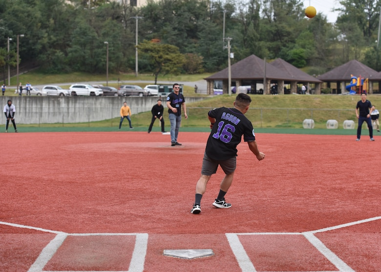 Members of the U.S. and Republic of Korea Air Forces legal teams play a game of kickball during a Friendship Day at Osan Air Base, ROK, October 23, 2019. The purpose of the day was to give both counterparts the opportunity to spend time together and strengthen the ties between the two nations. (U.S. Air Force photo by Senior Airman Denise M. Jenson)