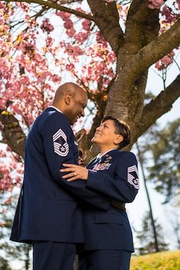 Retired U.S. Air Force Chief Master Sgt. Robinson Joseph, former U.S. Air Forces in Europe – Air Forces Africa Chief Enlisted Manager for the Air Force Installation Contracting Center, and his wife, retired Chief Master Sgt. Leenette Joseph, former USAFE Equal Opportunity functional manager, spent 14 years as a military-to-military couple before retiring together.