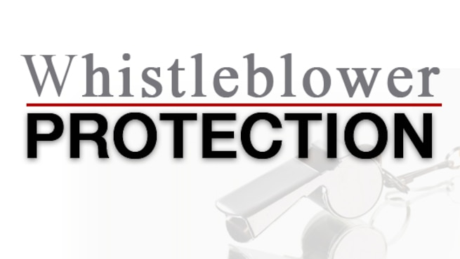 Graphic with words whistleblower protection