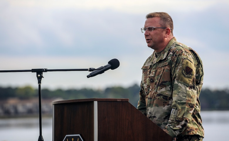 Chief Master Sgt. David Wade, command chief of ACC, gives a speech during an ACC quarterly award ceremony at Memorial Park on Joint Base Langley-Eustis, Virginia, Oct. 25, 2019. In addition to the ceremony, General Mike Holmes, commander of ACC, also led a resiliency walk during the day's events. The walk gave staff members the opportunity to connect with their coworkers outside of the office. (U.S. Air Force photo by Tech. Sgt. Nick Wilson)