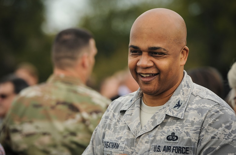 Col. Ronald Cheatham, Air Combat Command director of manpower, personnel and services, laughs with a colleague after a resiliency walk on Joint Base Langley-Eustis, Virginia, Oct. 25, 2019. The commander of ACC directed all of his staff members to get out of the office, move and connect as part of an effort to improve morale and sharpen resilience. (U.S. Air Force photo by Tech. Sgt. Nick Wilson)