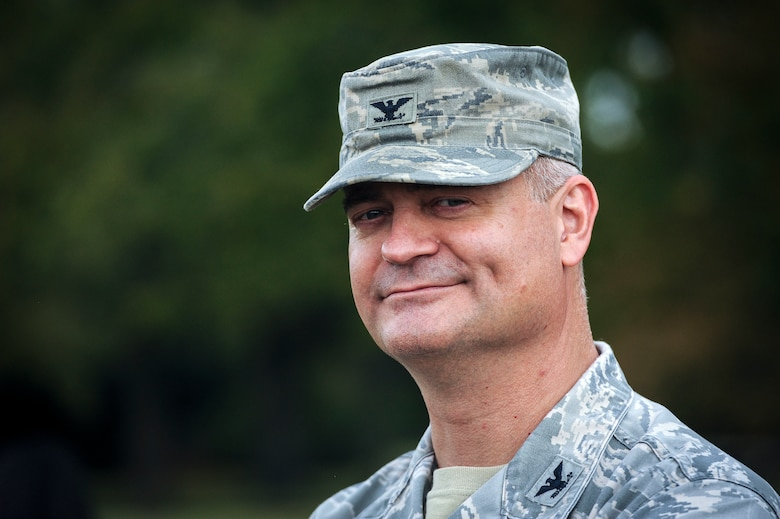 Col. Steven Cabosky, Air Combat Command weather requirements division chief, smiles after a resiliency walk on Joint Base Langley-Eustis, Virginia, Oct. 25, 2019. As part of an effort to boost morale, the resiliency walk also gave senior leaders an opportunity to build camaraderie with their Airmen. (U.S. Air Force photo by Tech. Sgt. Nick Wilson)