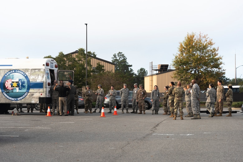 Airmen with the 23d Medical Group (MDG) conduct litter-carry training Oct. 25, 2019, at Moody Air Force Base, Ga. The 23d MDG conducted the training in preparation for the upcoming Thunder Over South Georgia Open House. Airmen practiced litter-carry movements and commands to ensure they have the appropriate skills in the case of an emergency. (U.S. Air Force photo by Airman 1st Class Taryn Butler)