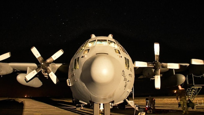 A C-130H3 Hercules from Dobbins Air Reserve Base, Georgia, sits under the stars following a Night Tactical Air-Land mission during Exercise Real Thaw 2019 at Beja Air Base, Portugal, Oct. 2, 2019.