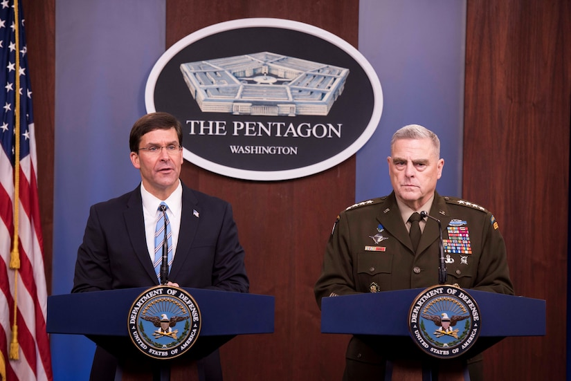 Defense Secretary Dr. Mark T. Esper and Chairman of the Joint Chiefs of Staff Army Gen. Mark A. Milley conduct a news conference at the Pentagon, Oct. 28, 2019.
