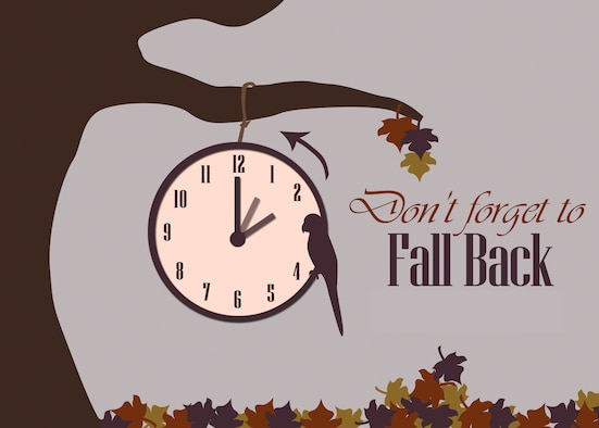 Daylight saving time ends Nov. 3. Time will be set back one hour at 2 a.m. to standard time.