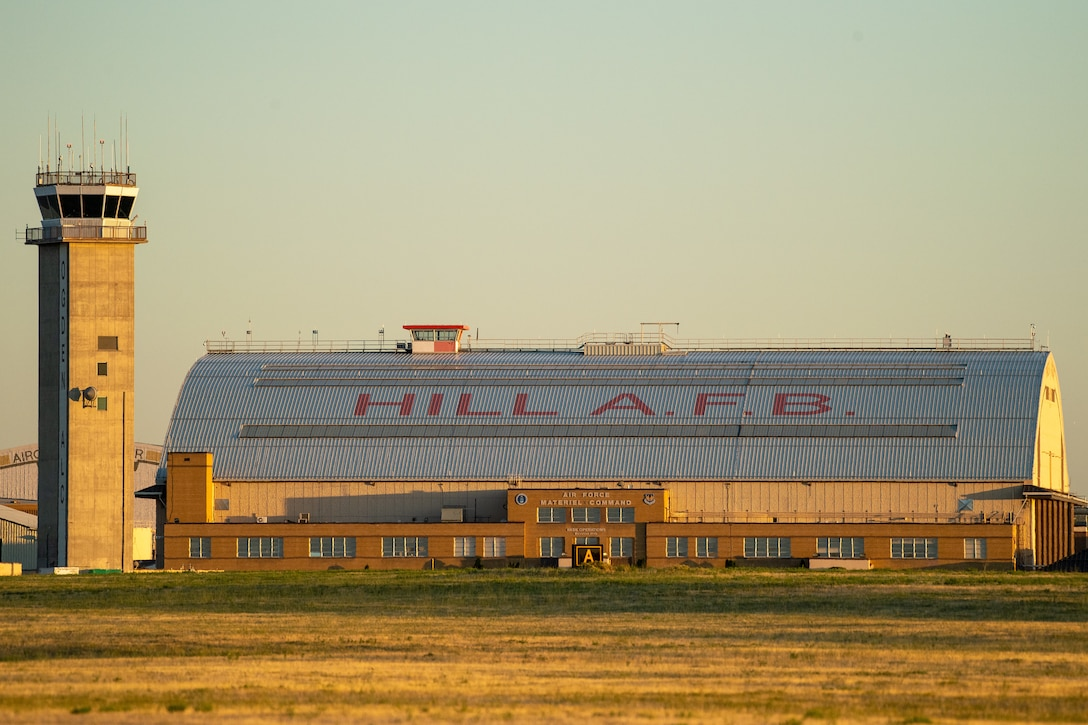 The sunset highlights hangar 1 Aug. 20, 2019, at Hill Air Force Base, Utah.