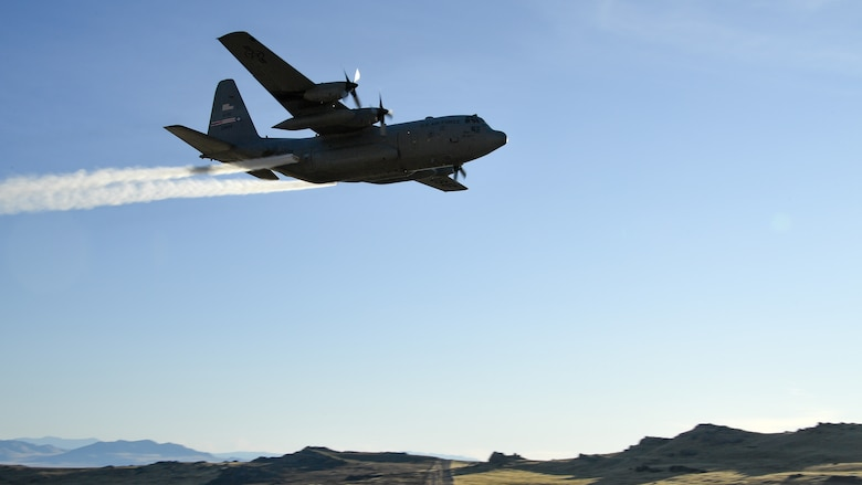 A C-130 Hercules assigned to the Air Force Reserve 757th Airlift Squadron flies over the Utah Test and Training Range Oct. 24, 2019, during an aerial spray operation.