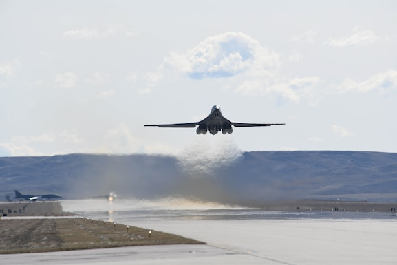 A B-1B Lancer takes off from Ellsworth Air Force Base, S.D., Oct. 24, 2019, to support a Bomber Task Force in the U.S. Central Command area of operations. The unannounced arrival of the B-1 demonstrates the global strike capacity and ability of the U.S. Air Force and Air Force Global Strike Command to rapidly deploy forward and deliver precision-guided ordnance against any adversary. Bomber missions demonstrate the credibility of our forces to address a global security environment that is more diverse and uncertain than at any other time in our history. (U.S. Air Force photo by Staff Sgt. Hailey Staker)
