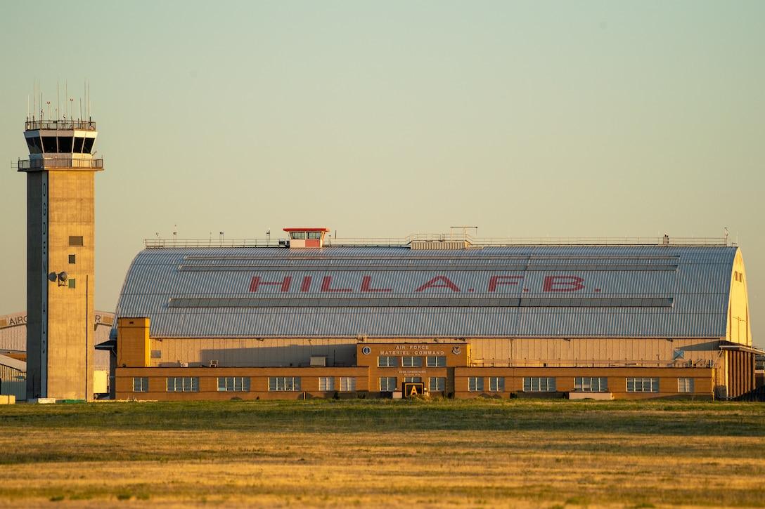 The sunset highlights hangar 1 Aug. 20, 2019, at Hill Air Force Base, Utah.