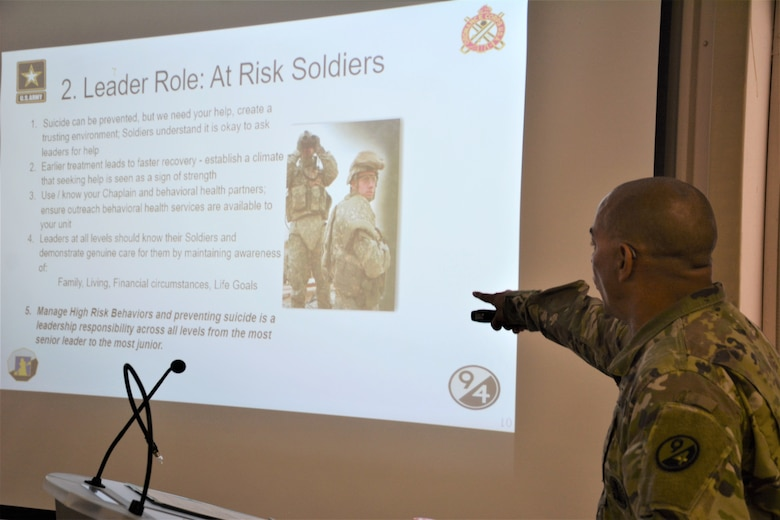 Sgt. 1st Class Raul Nieves, 5/80th Battalion heating, ventilation, and air conditioning instructor, 3rd Ordnance Brigade, 94th Training Division - Force Sustainment, gives his block of instruction on suicide prevention during the 94th Training Division Instructor of the Year Competition Aug. 15-17, 2019, at Joint Base McGuire-Dix-Lakehurst, New Jersey.  As the overall competition winner, Nieves was also presented with a trophy, awarded the Army Commendation Medal, offered a slot to attend the Army Air Assault School, and will automatically advance to compete in the upcoming 80th Training Command IOY Competition Oct. 23-27, 2019. (Photo by Maj. Ebony Gay, 94th TD-FS Public Affairs Office)