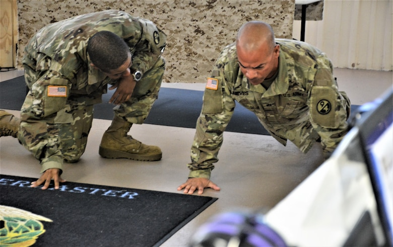 Sgt. 1st Class Raul Nieves (R), 5/80th Battalion HVAC instructor, 3rd Brigade (Ordnance), 94th Training Division - Force Sustainment, gives a demonstration before starting his block of instruction during the 94th Training Division Instructor of the Year Competition on Aug. 15-17, 2019 at Joint Base McGuire-Dix-Lakehurst, New Jersey.  As the overall competition winner, Nieves was also presented with a trophy, awarded the Army Commendation Medal, offered a slot to attend the Army Air Assault School, and will automatically advance to compete in the upcoming 80th Training Command IOY Competition Oct. 23-27, 2019. (Photo by Maj. Ebony Gay, 94th TD-FS Public Affairs Office)