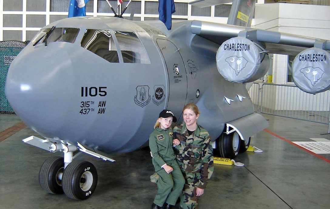 Staff Sgt. Ivy Abercrombie, 437th Aircraft Maintenance Squadron, and her daughter Hanah Abercrombie pose for a photo March 17, 2006, at Joint Base Charleston, S.C. Hanah joined the Air Force and graduated basic training December 2017, following in her parent's footsteps.  (Courtesy photo