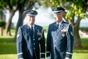Staff Sgt. Darrell Bactad and Tech. Sgt. Mark Crabbe, 204th Airlift Squadron information managers, gather to practice Honor Guard movements Oct. 4, 2019, at Joint Base Pearl Harbor-Hickam, Hawaii.