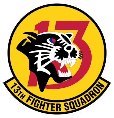 "Established as the 313th Bombardment Squadron during World War II, the 13th Fighter Squadron pioneered the Wild Weasel mission during the Vietnam War. In 1972, the 13 FS adopted a black Asian leopard named Eldridge and became known as the ""Panther Pack."" On June 1, 1985, the squadron activated at Misawa Air Base flying for the 432nd and 35th Operations Group. (Graphic courtesy of U.S. Air Force)"