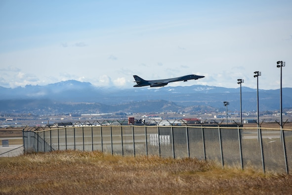 A B-1B Lancer assigned to the 28th Bomb Wing, takes off from Ellsworth Air Force Base, S.D., Oct. 24, 2019, to support a Bomber Task Force in the U.S. Central Command area of operations. The B-1 can rapidly deliver massive quantities of precision and non-precision weapons against any adversary. The Department of Defense maintains command and control of its bomber force for any mission, anywhere in the world, at any time. (U.S. Air Force photo by Master Sgt. Kenya N. Shiloh)