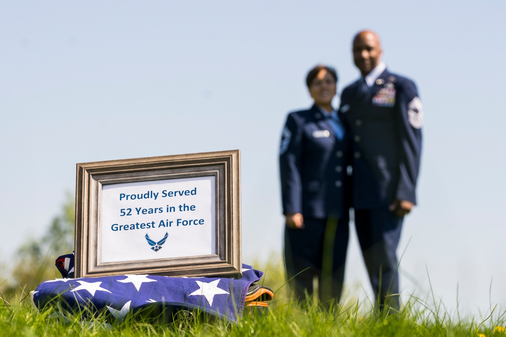 Retired U.S. Air Force Chief Master Sgt. Robinson Joseph, former U.S. Air Forces in Europe – Air Forces Africa Chief Enlisted Manager for the Air Force Installation Contracting Center, and his wife, retired Chief Master Sgt. Leenette Joseph, former USAFE Equal Opportunity functional manager, retired together at Ramstein Air Base on Oct. 25, 2019.