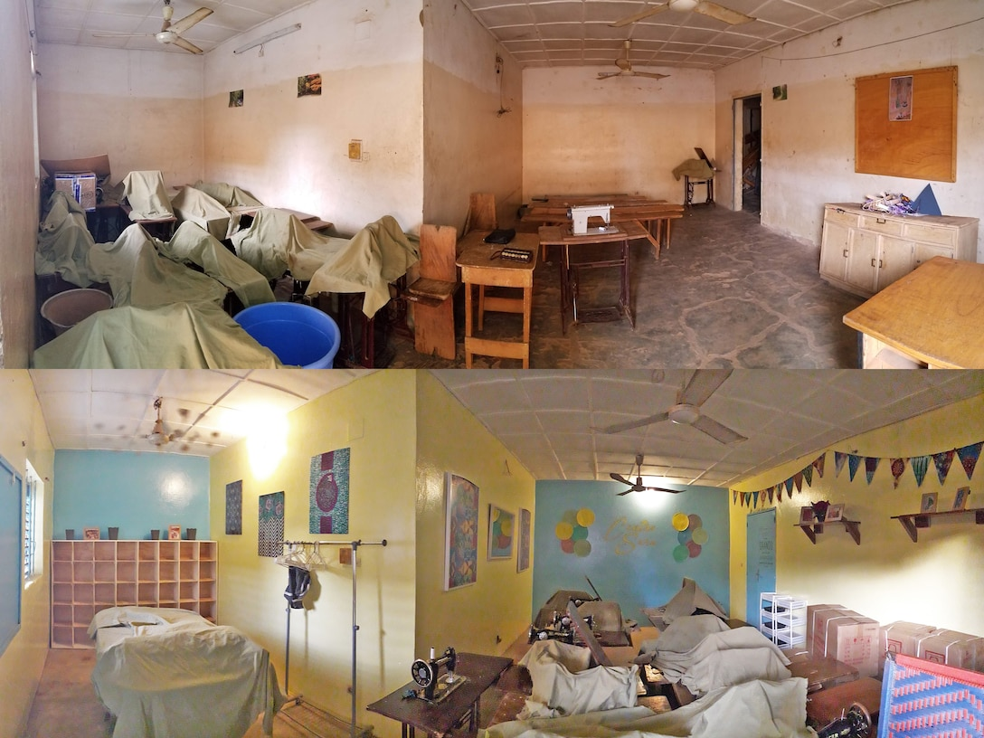 Pictured on top is the before and on bottom the after of renovation efforts at the Sara-Niger Rehabilitation Center Movement for Women and Girls in Niamey, Niger. From Sept. 21 to Oct. 14, 2019, Airmen deployed to Nigerien Air Base 101 and U.S. Embassy personnel renovated the local women's vocational school that teaches local women techniques for making clothing, providing them with a profession and a source of income. (Courtesy Photo)
