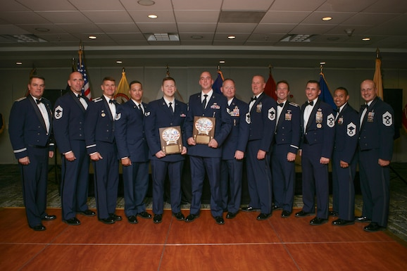 Airmen of the New Jersey Air National Guard receive awards at the 46th annual Enlisted Association of the National Guard of the United States (EANGUS) conference in Iselin, N.J., Oct. 26, 2019. EANGUS advocates for the betterment of enlisted guardsmen and their families as military members. (Courtesy Photo)