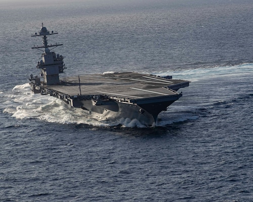 The aircraft carrier USS Gerald R. Ford (CVN 78) conducts high-speed turns in the Atlantic Ocean, Oct. 29, 2019.