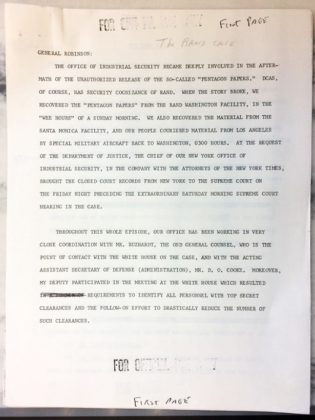 A printed page of the Pentagon Papers with notations