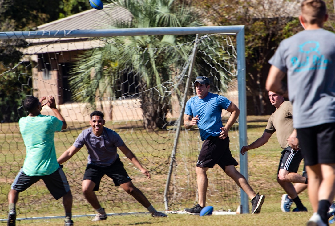 """Members of the 20th Security Forces Squadron engage in a game of """"Avengerball"""" during their physical training time at Shaw Air Force Base, South Carolina, Oct. 17, 2019."""