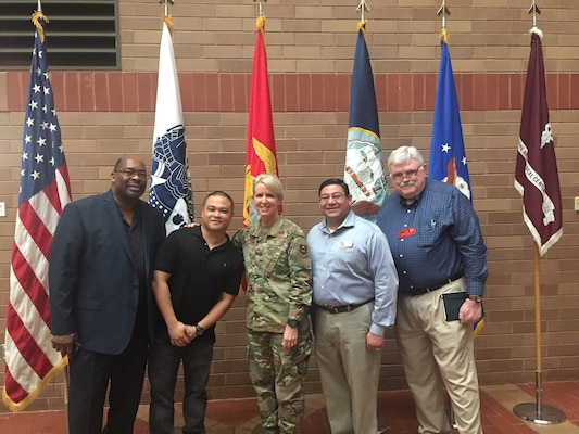 Brig. Gen. Laura L. Lenderman, 502nd Air Base Wing and Joint Base San Antonio commander (center) at the Retiree Appreciation Day at Brooke Army Medical Center on JBSA-Fort Sam Houston Oct. 19. Lenderman gave the opening remarks at the event.