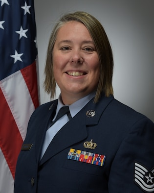 Official photo of TSgt Shawna Kuebler, euphoniumist with the United States Air Force Band of Mid-America