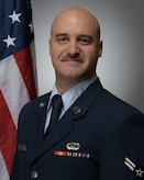 Official photo of A1C Dusty Carlson, bassist with the United States Air Force Band of Mid-America