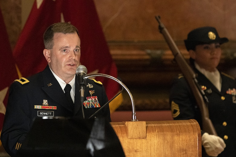 Brig. Gen. Mark S. Bennett delivers his first address as the U.S. Army Financial Management Command commanding general during a ceremony at the Indiana War Memorial in Indianapolis, Oct. 25, 2019. In that speech, he promised the USAFMCOM team to give them his very best, and he asked them for their very best in return. (U.S. Army photo by Mark R. W. Orders-Woempner)