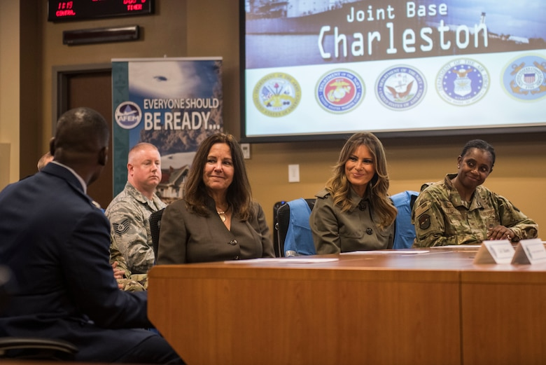 First Lady Melania Trump and Second Lady Karen Pence are briefed on Joint Base Charleston's disaster preparation and relief efforts at the JB Charleston Emergency Operations Center during their visit to JB Charleston, S.C. October 30, 2019. While here, they met with Airmen, Sailors, Soldiers, Marines, Coast Guardsmen, and students from Lambs Elementary School to learn more about the community's capabilities in disaster response, relief and recovery efforts.