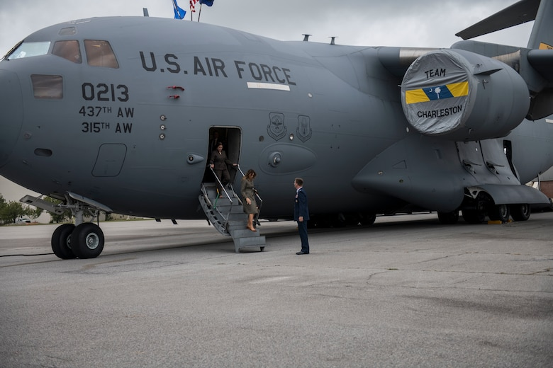 First Lady Melania Trump and Second Lady Karen Pence exit a C-17 Globemaster III during a visit to Joint Base Charleston, S.C. October 30, 2019. While here, they met with Airmen, Sailors, Soldiers, Marines, Coast Guardsmen, and students from Lambs Elementary School to learn more about the community's capabilities in disaster response, relief and recovery efforts.
