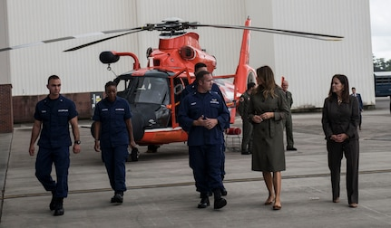 First Lady Melania Trump and Second Lady Karen Pence are briefed by members of U.S. Coast Guard Sector Charleston during a visit to Joint Base Charleston, S.C. October 30, 2019. While here, they met with Airmen, Sailors, Soldiers, Marines, Coast Guardsmen, and students from Lambs Elementary School to learn more about the community's capabilities in disaster response, relief and recovery efforts.