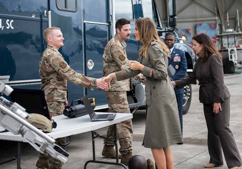 First Lady Melania Trump and Second Lady Karen Pence meet with members of the 628th Civil Engineer Squadron Explosive Ordnance Disposal Flight during their visit to Joint Base Charleston, S.C. October 30, 2019. While here, they met with Airmen, Sailors, Soldiers, Marines, Coast Guardsmen, and students from Lambs Elementary School to learn more about the community's capabilities in disaster response, relief and recovery efforts.