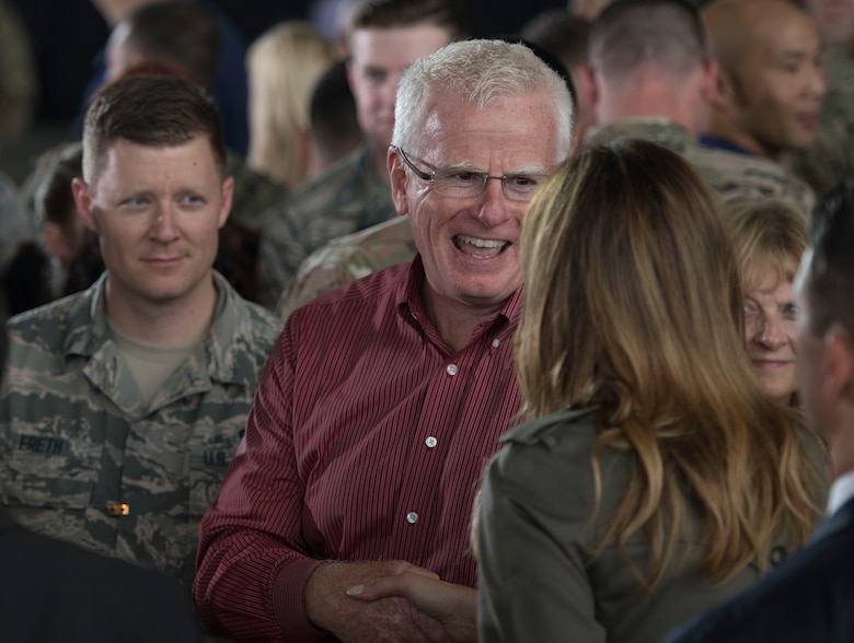 Members of Team Charleston meet First Lady Melania Trump during her visit to Joint Base Charleston, S.C. October 30, 2019. While here, she met with Airmen, Sailors, Soldiers, Marines, Coast Guardsmen, and students from Lambs Elementary School to learn more about the community's capabilities in disaster response, relief and recovery efforts.