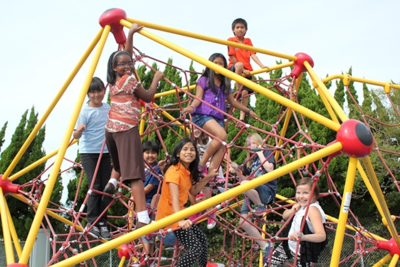 Children play at a school playground.