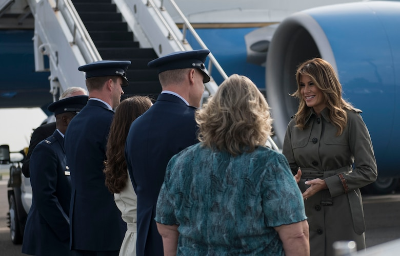 First Lady Melania Trump greets Joint Base Charleston leadership during her visit to JB Charleston, S.C. October 30, 2019. While here, Trump and Second Lady Karen Pence met with Airmen, Sailors, Soldiers, Marines, Coast Guardsmen and students from Lambs Elementary School to learn more about the community's capabilities in disaster response, relief and recovery efforts.