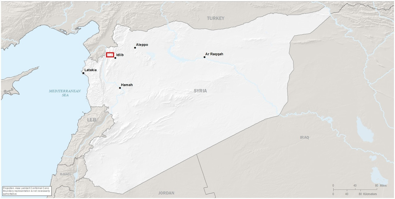 A map of Syria highlighting in red the approximate location of the Baghdadi raid.