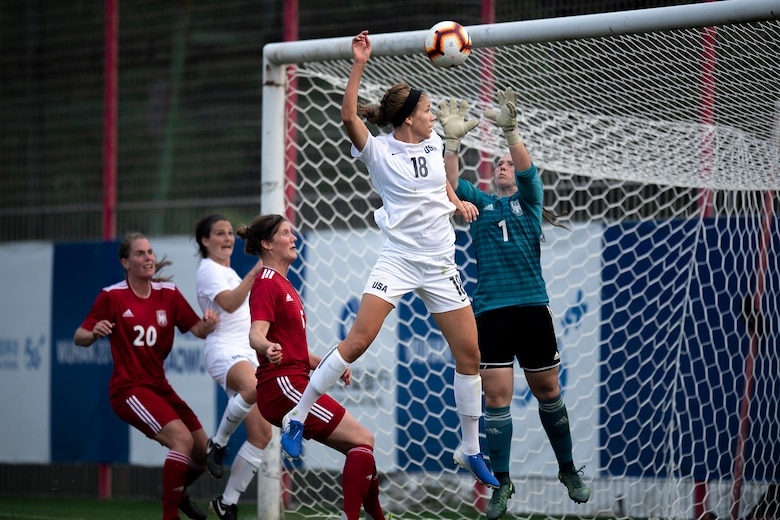 2nd Lt. Morgan Mavroudis, 412th Security Forces Squadron, playing for the U.S. Armed Forces Women's Soccer team, attempts to score a goal during a preliminary game with Germany in the 2019 CISM Military World Games in Wuhan, China Oct. 17, 2019. The Council of International Sports for the Military games open Oct. 18, 2019 and close Oct. 28, 2019. (Photo courtesy of EJ Hersom, U.S. Armed Forces Sports)