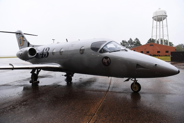 The 43rd Flying Training Squadron's T-1 Jayhawk heritage flagship aircraft sits on the flight line Oct. 25, 2019, on Columbus Air Force Base, Miss. In 1972, the 43rd was reactivated as a flying training squadron at Craig AFB in Ala., where it conducted undergraduate pilot training until the base closed in 1977. (U.S. Air Force photo by Airman 1st Class Jake Jacobsen)