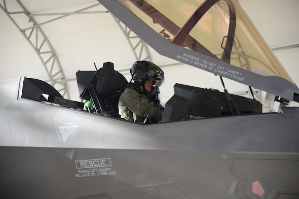 An F-35 pilot prepares for flight at Edwards Air Force Base, California, Oct. 7. Six F-35s recently left Edwards and were reassigned to the 422nd Test and Evaluation Squadron at Nellis Air Force Base, Nevada, following the 31st Test and Evaluation Squadron's completion of the F-35's initial operational test and evaluation. (U.S. Air Force photo by Giancarlo Casem)