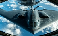 A U.S. Air Force B-2 Spirit assigned to the 509th Bomb Wing from Whiteman Air Force Base, Missouri, receives fuel from a 100th Air Refueling Wing KC-135 Stratotanker during Global Thunder 20, Oct. 28, 2019. Global Thunder is an annual command and control exercise that assesses and validates all of U.S. Strategic Command's mission areas, tests joint and field training operations, and has a specific focus on nuclear readiness. (U.S. Air Force photo by Staff Sgt. Trevor T. McBride)
