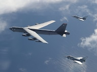 A B-52H Stratofortress from the 2nd Bomb Wing at Barksdale Air Force Base, La., integrates with Royal Air Force Typhoon fighters during Global Thunder as part of a Bomber Task Force mission Oct. 28, 2019. The mission tested areas of mutual concern and fortified military collaboration. (Royal Air Force Photo)