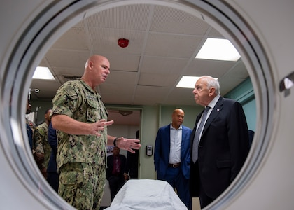 U.S. Navy Capt. Patrick Amersbach, commanding officer, medical treatment facility comfort aboard the hospital ship USNS Comfort.