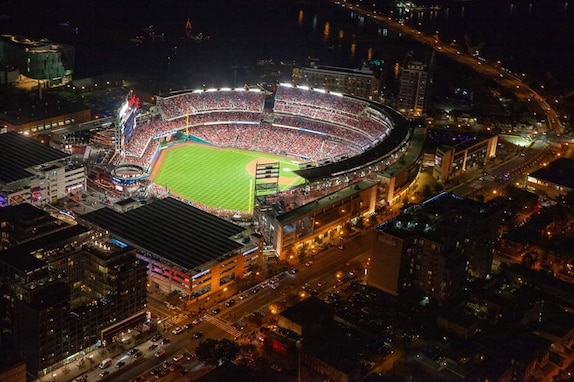 An aerial view shows a packed National's Stadium during game five of the Major League Baseball World Series. In addition to supporting the Marine Corps Marathon, the District of Columbia National Guard's 33rd Civil Support Team provided District officials support during the historic 2019 World Series baseball games at the National's Stadium Oct. 25-27.