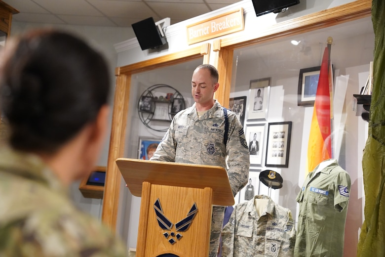 U.S Air Force Chief Master Sgt. Daniel Reed, Second Air Force military training instructor and military training leader career field manager, gives remarks before the unveiling of the MTL wall at the Air Force Enlisted Heritage Hall at Maxwell Air Force Base Gunter Annex, Alabama, Oct. 30, 2019. MTLs play a vital role in the development of the next generation of Air Force leaders, warfighters, and protectors of freedom. The Air Force Enlisted Heritage Hall has dedicated a wall to highlight their lineage and contributions to the Air Force. (U.S Air Force photo by Airman 1st Class Spencer Tobler)