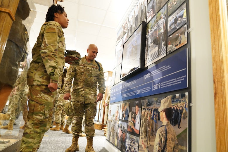 Military training leaders view the brand-new MTL wall at the Air Force Enlisted Heritage Hall at Maxwell Air Force Base Gunter Annex, Alabama, Oct. 30, 2019. MTLs play a vital role in the development of the next generation of Air Force leaders, warfighters, and protectors of freedom. The Air Force Enlisted Heritage Hall has dedicated a wall to highlight their lineage and contributions to the Air Force. (U.S Air Force photo by Airman 1st Class Spencer Tobler)