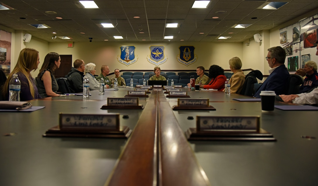 U.S. Air Force Gen. Maryanne Miller, Air Mobility Command commander, discusses AMC priorities with Spokane-area civic leaders during a civic leader tour to Scott Air Force Base, Illinois, Oct. 16.  The Air Force is trying to overcome license reciprocity, child care and education systems concerns that Airmen and their families have in their respective communities. (U.S. Air Force photo by Senior Airman Jesenia Landaverde)