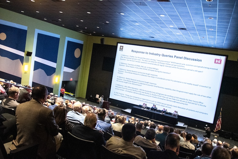 Hundreds of representatives from businesses small and large attend the 2019 Small Business Forum in the Davidson Center for Space Exploration at the U.S. Space & Rocket Center in Huntsville, Ala., Oct. 24, 2019. The event gave businesses an opportunity to connect face to face with members of the U.S. Army Engineering and Support Center, Huntsville.